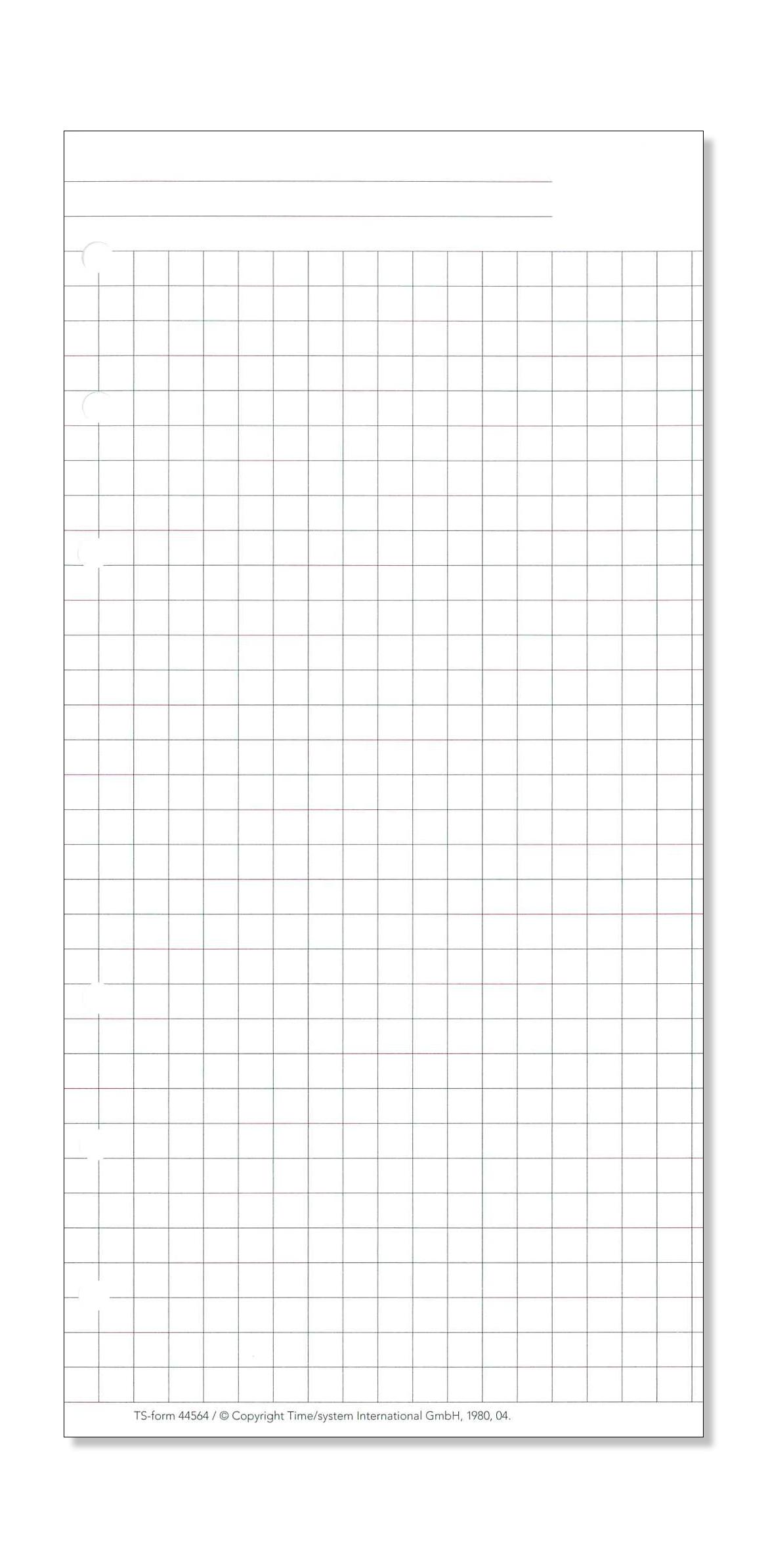 Time/system Compact Formblatt Kariertes Papier bestimmt für Kariertes Blatt