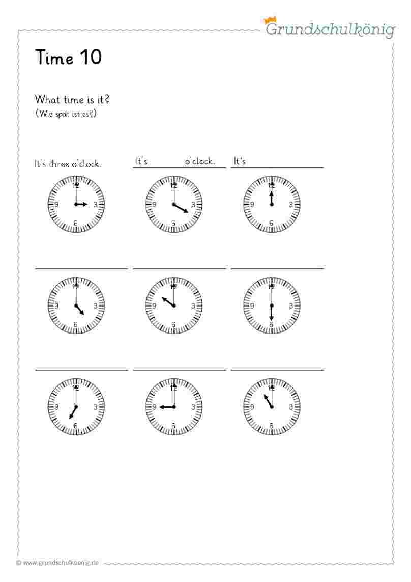 Time / Uhrzeit bei Uhrzeit Lernen 2 Klasse