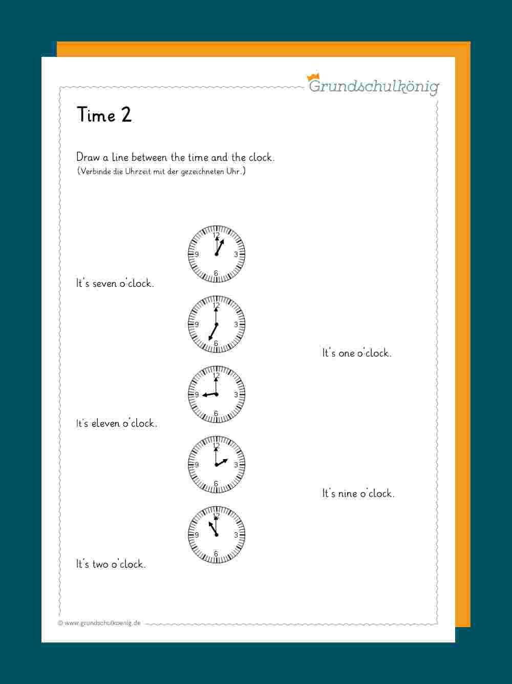 Time / Uhrzeit bestimmt für Uhrzeit Arbeitsblätter