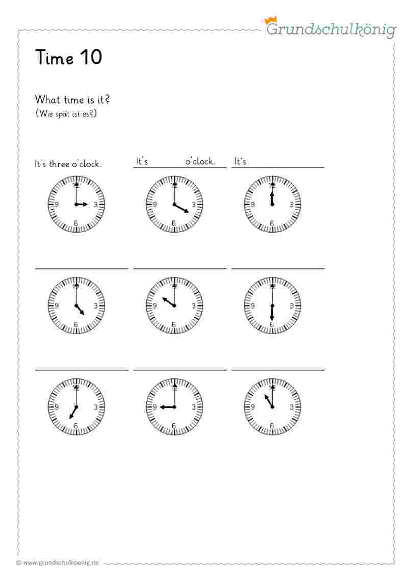 Time / Uhrzeit in Uhr Lernen Übungen