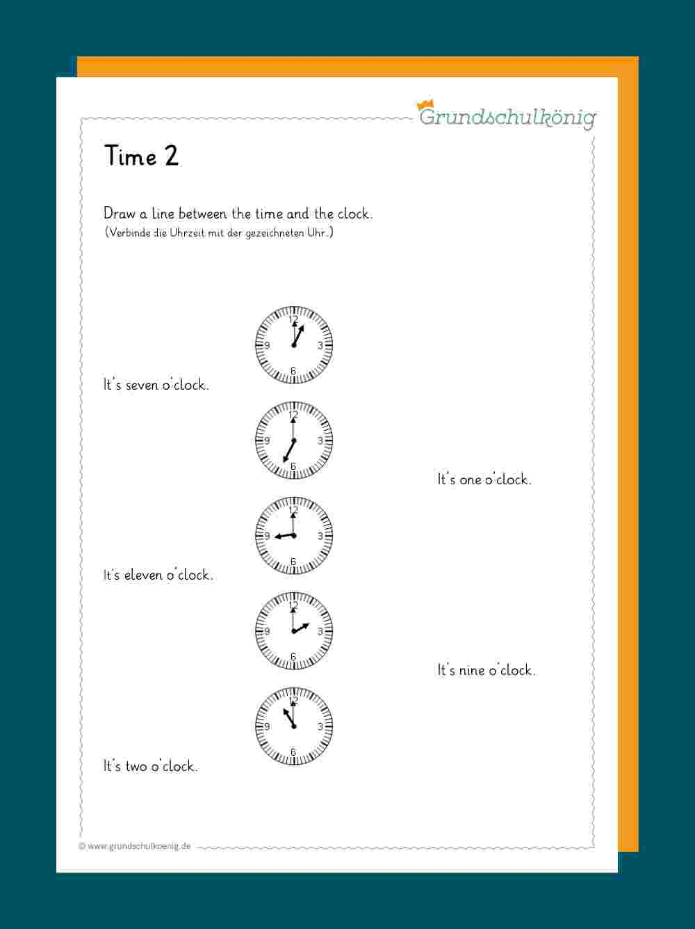 Time / Uhrzeit verwandt mit Uhr Lernen Arbeitsblätter Kostenlos