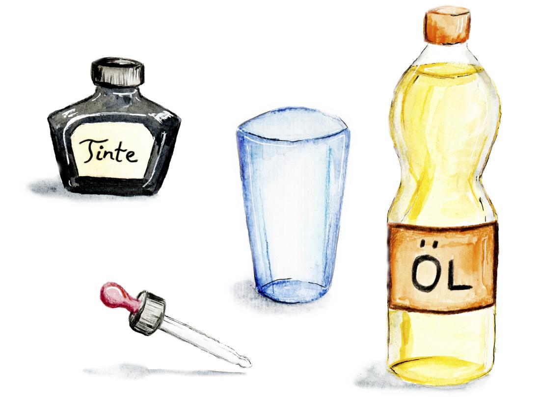 Tintentropfen Im Wasserglas - Experimente - Spürnasenecke bei Warum Vermischt Sich Öl Nicht Mit Wasser