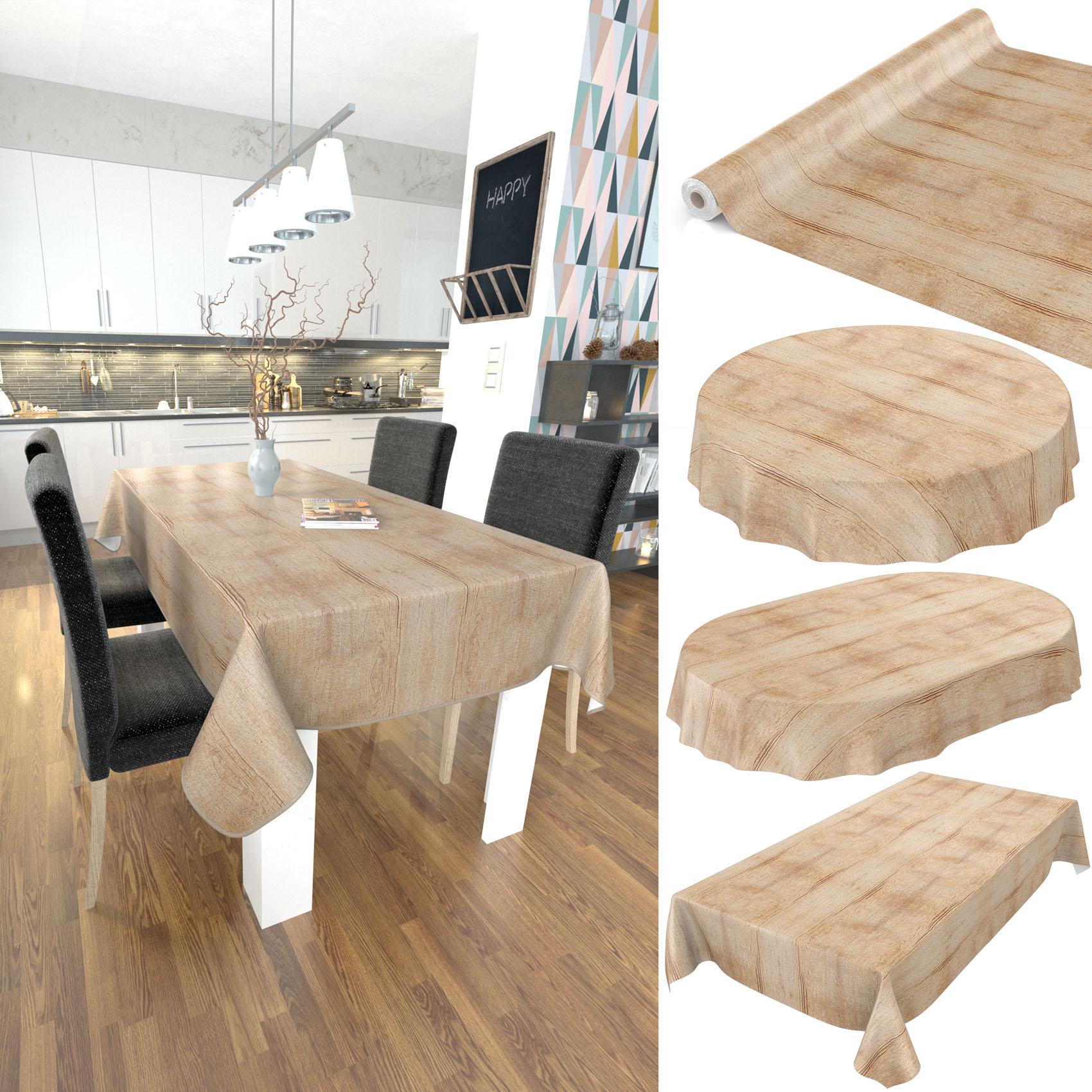 Tischdecke Abwaschbar Wachstuch Holzoptik Rund 120 Cm Braun bestimmt für Tischdecke Holzoptik