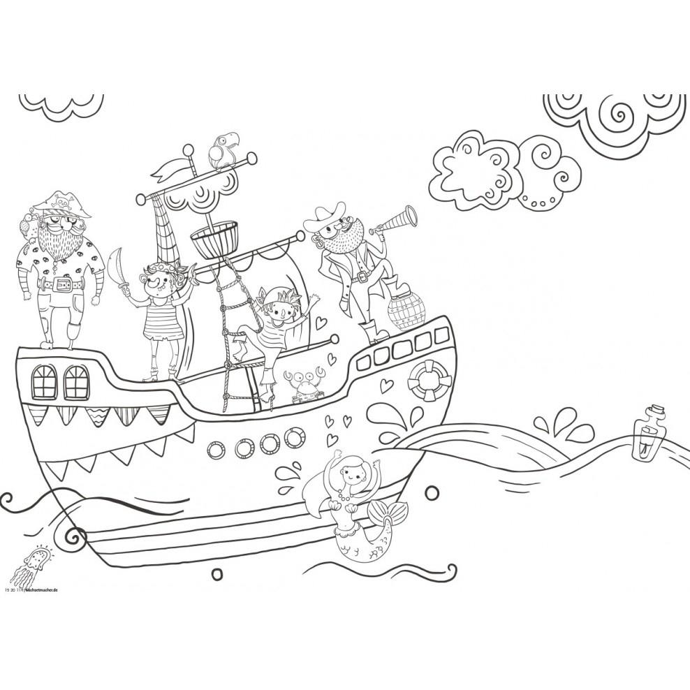 Tischset | Platzset - Piratenschiff - Aus Papier über Malvorlage Piratenschiff