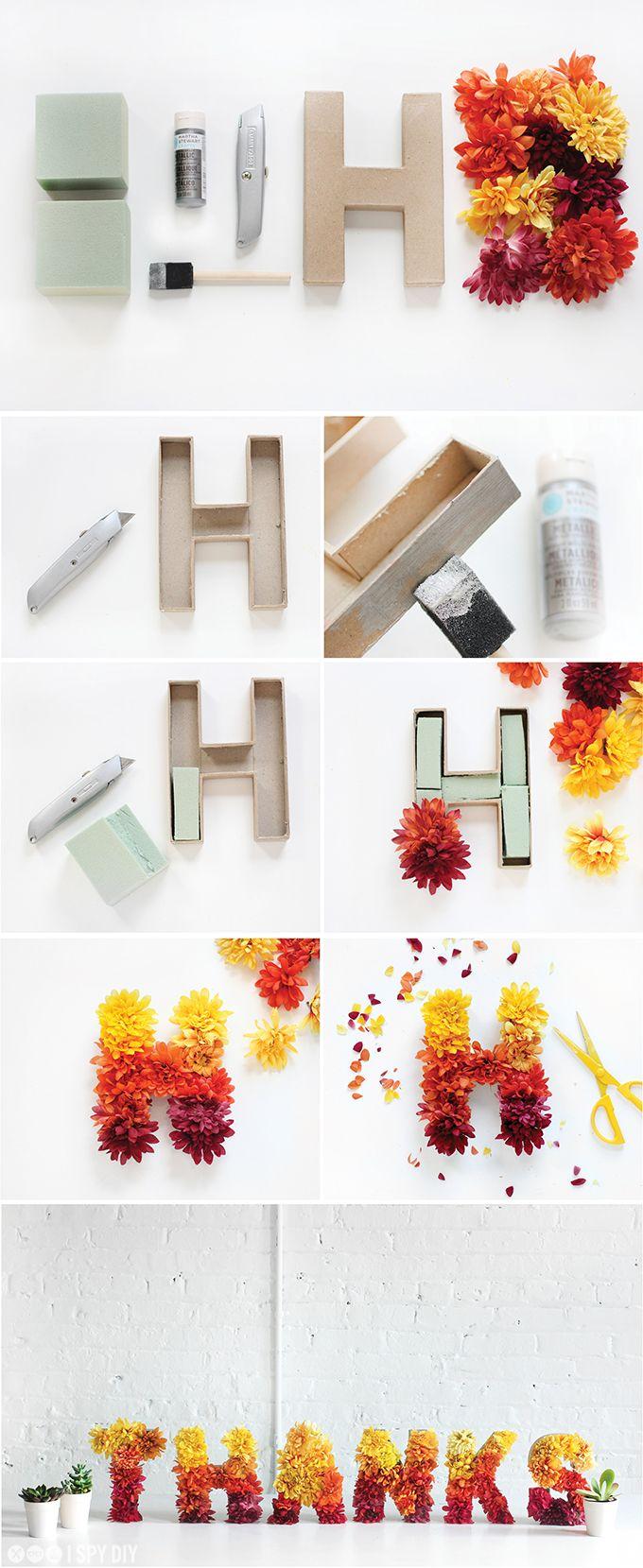Tolle #dekoration Im #frühling: Buchstaben Aus Karton Mit mit Blume Mit 6 Buchstaben