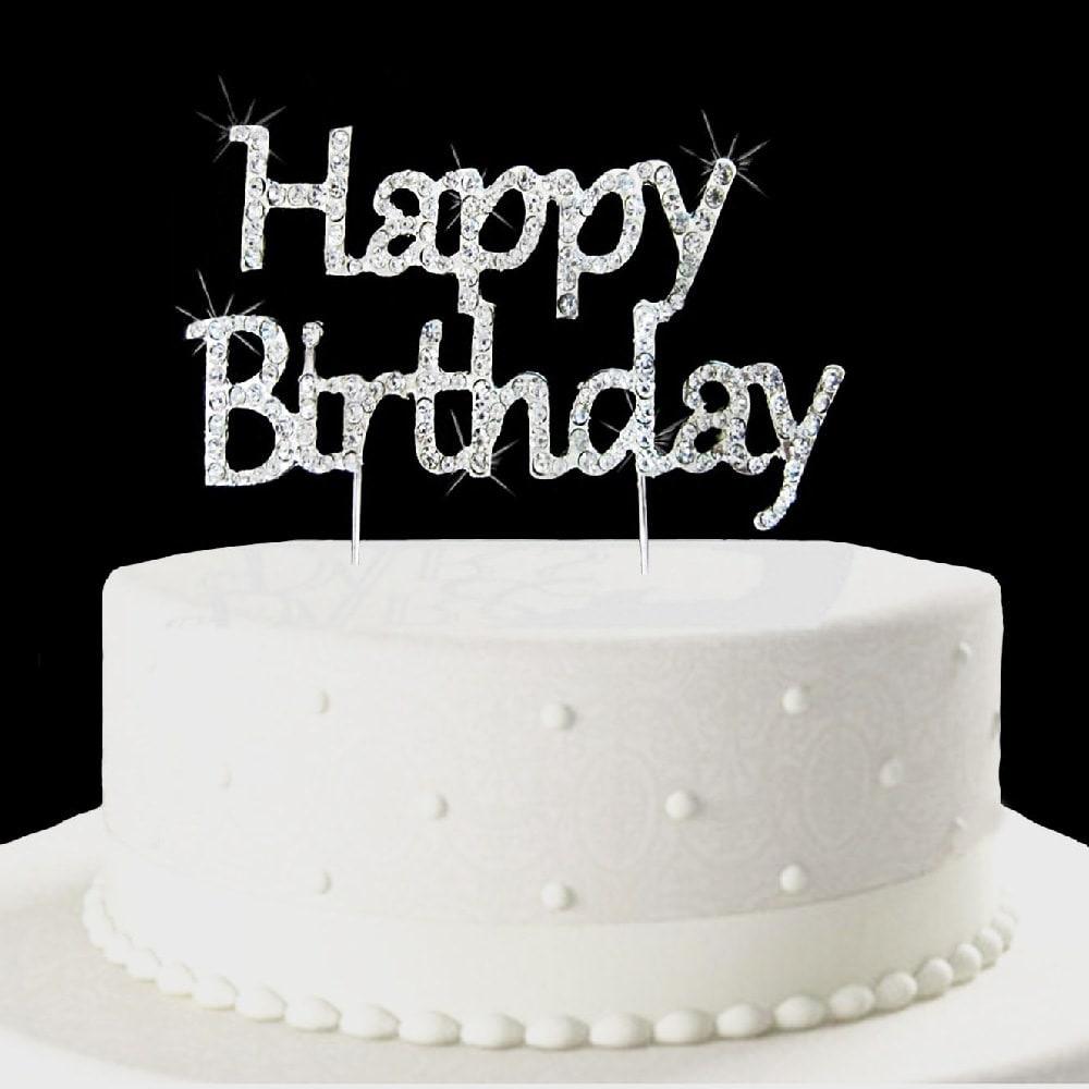 Torten Topper Kuchen Aufsatz Happy Birthday Geburtstag - Strassteine innen Torte Happy Birthday