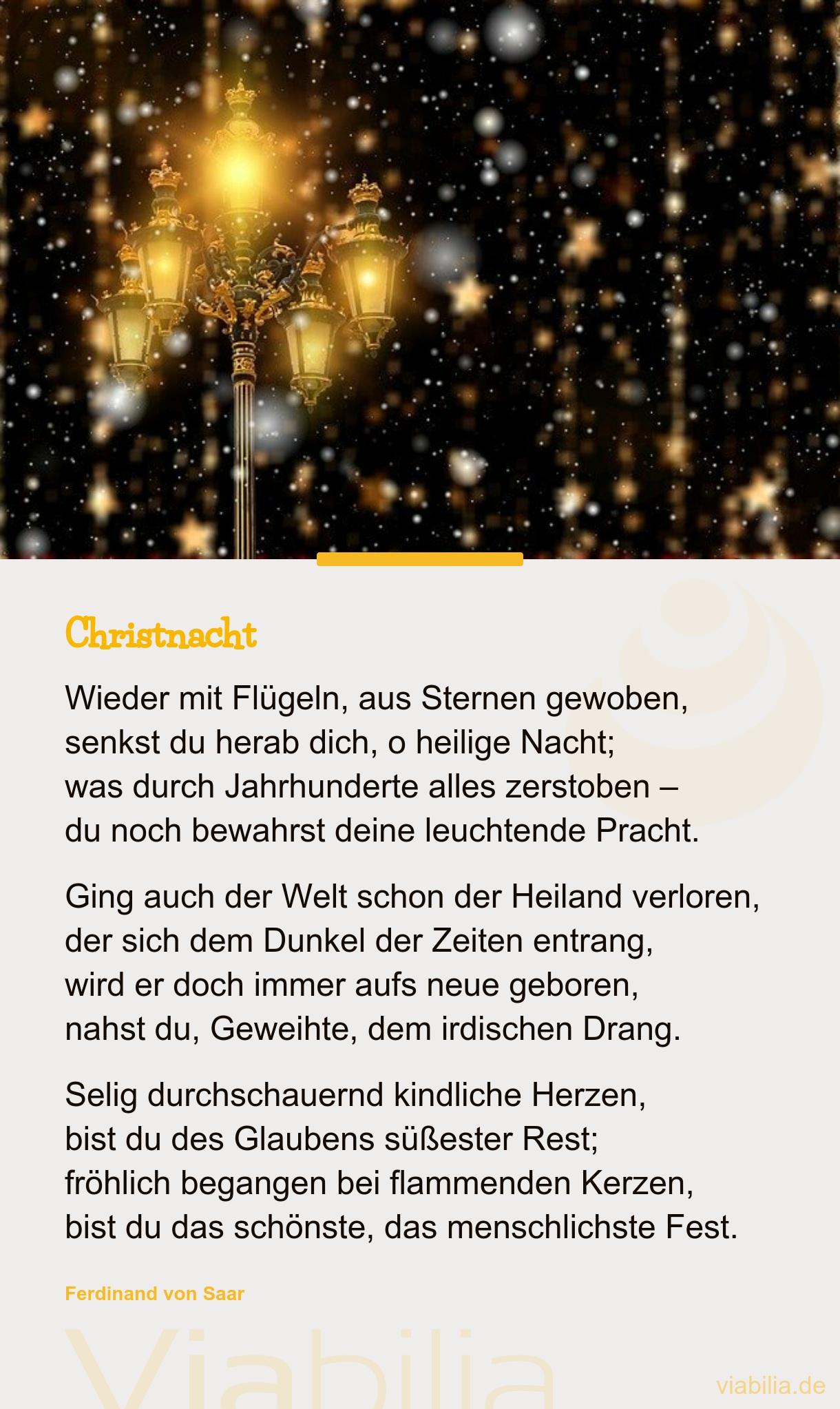 Traditionelles Gedicht: Christnacht - Weihnachtsgedicht bei Schöne Und Kurze Weihnachtsgedichte