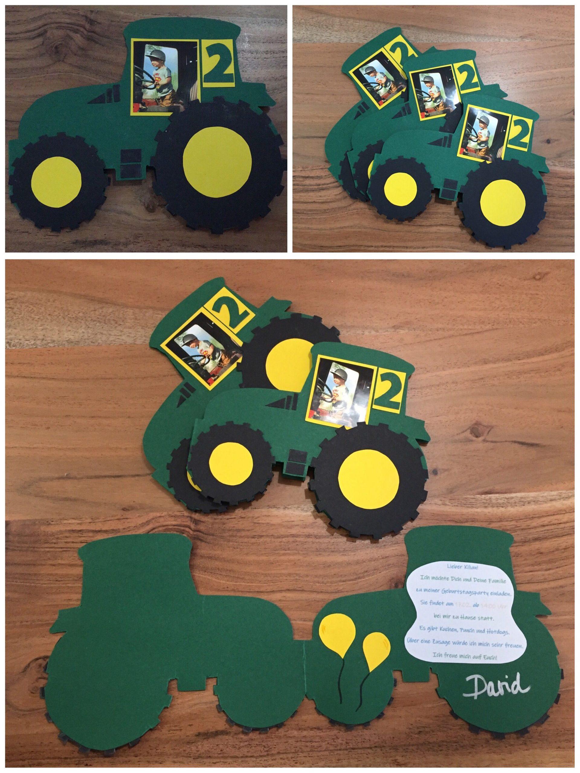 Traktor Einladungskarte Für Kindergeburtstag bei Trecker Bastelvorlage
