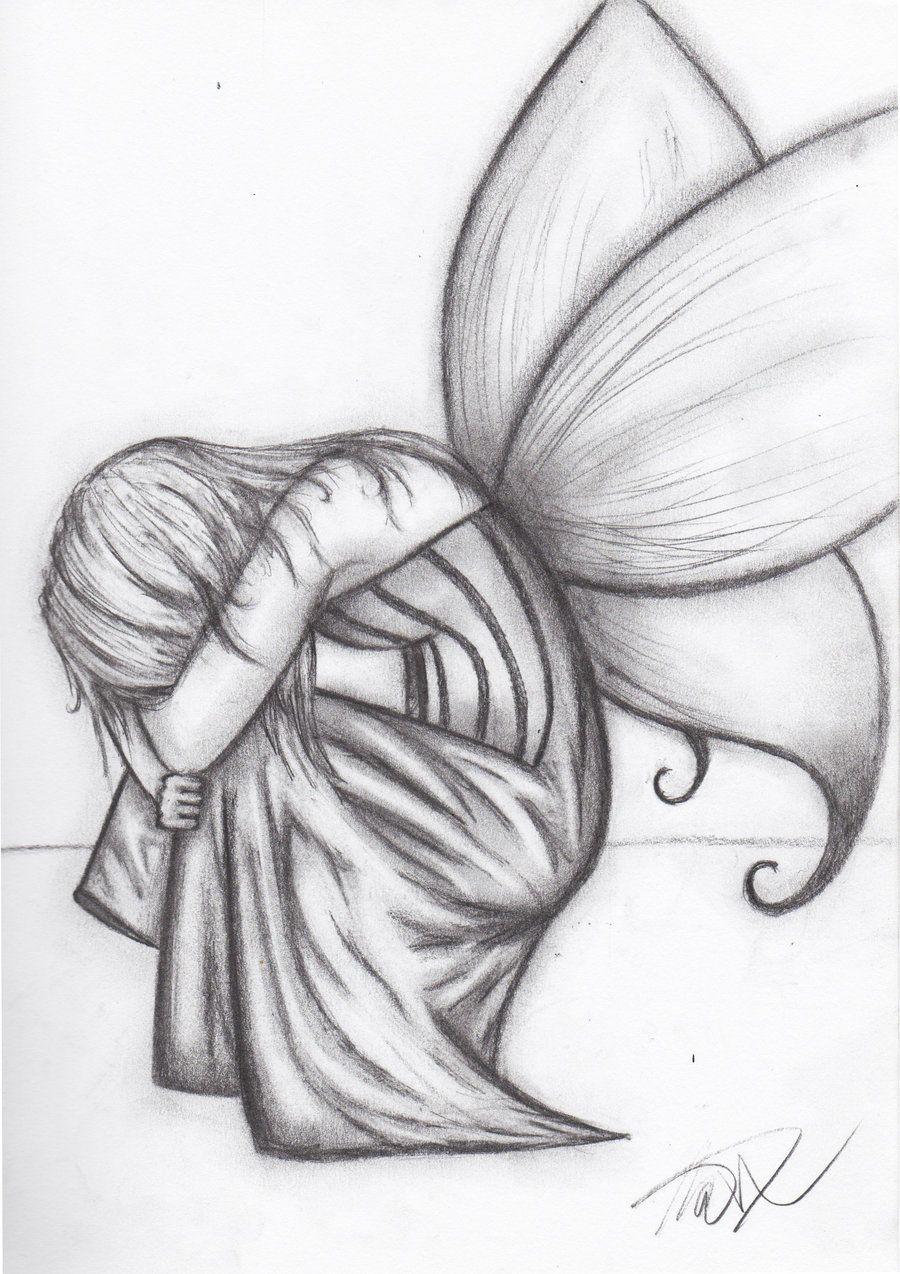 Traurig Sein | Feen Zeichnungen, Zeichnung Ideen Bleistift verwandt mit Feen Zeichnen