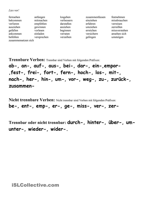 Trennbare Und Untrennbare Verben (Mit Bildern) | Deutsch in Wörter Die Mit I Anfangen