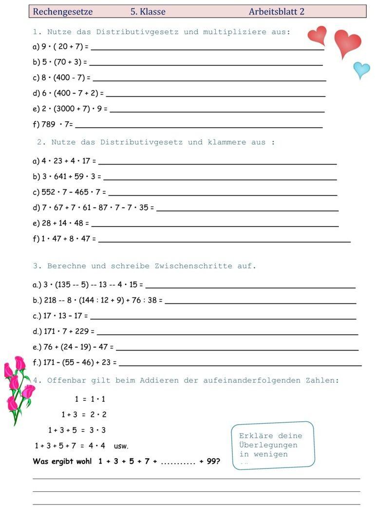 Übungsblatt Zu Rechengesetze | Lernen Tipps Schule für Mathe Online Lernen 5 Klasse Gymnasium