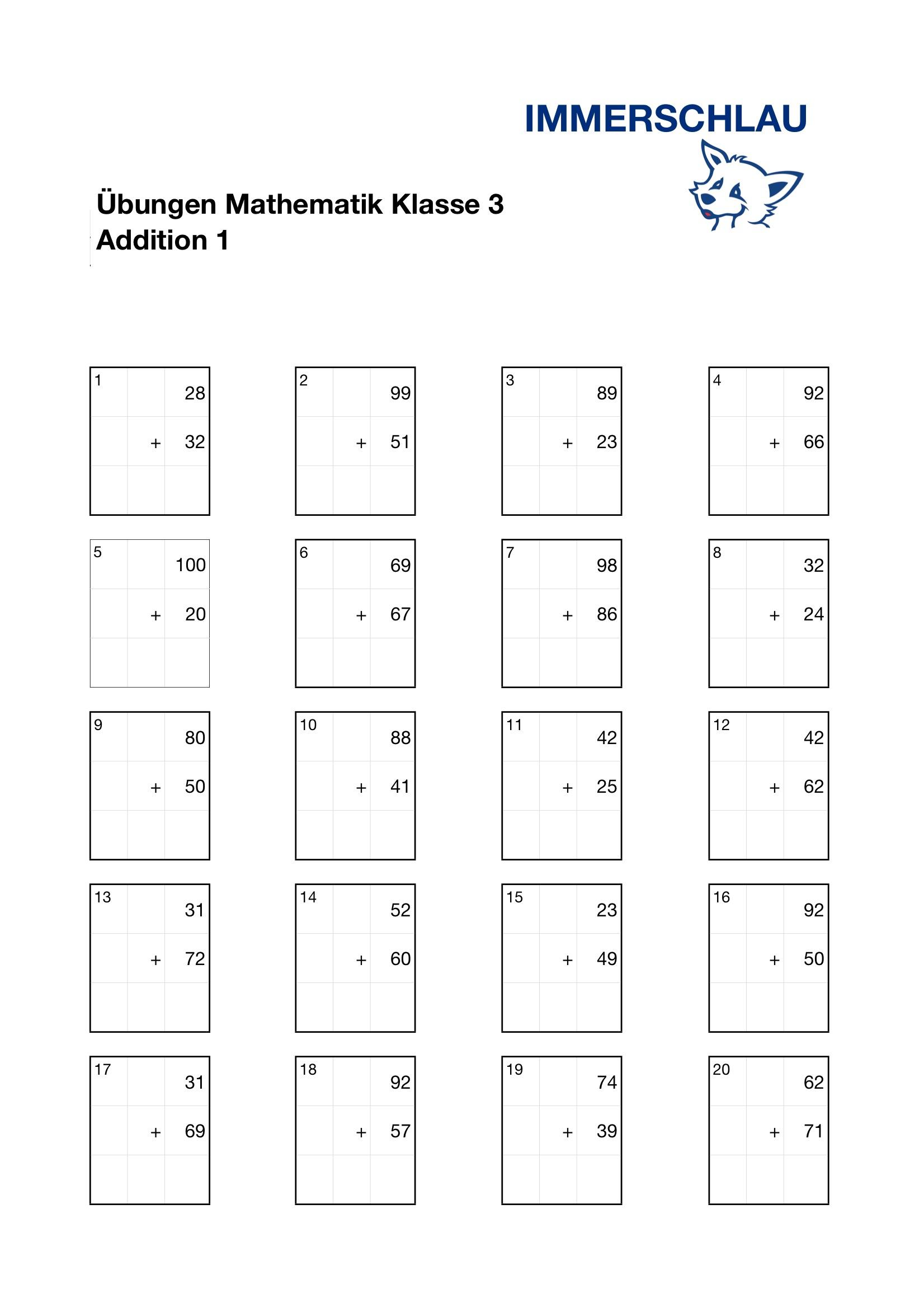 Übungsblätter Mathematik Klasse 3 – Addition – Immerschlau in Lernblätter Mathe