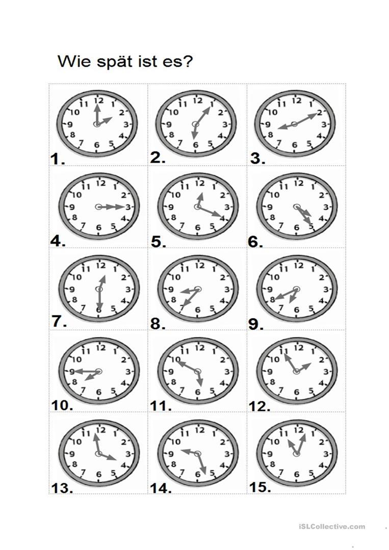 Uhrzeit A1 - Deutsch Daf Arbeitsblatter bei Uhrzeit Arbeitsblätter