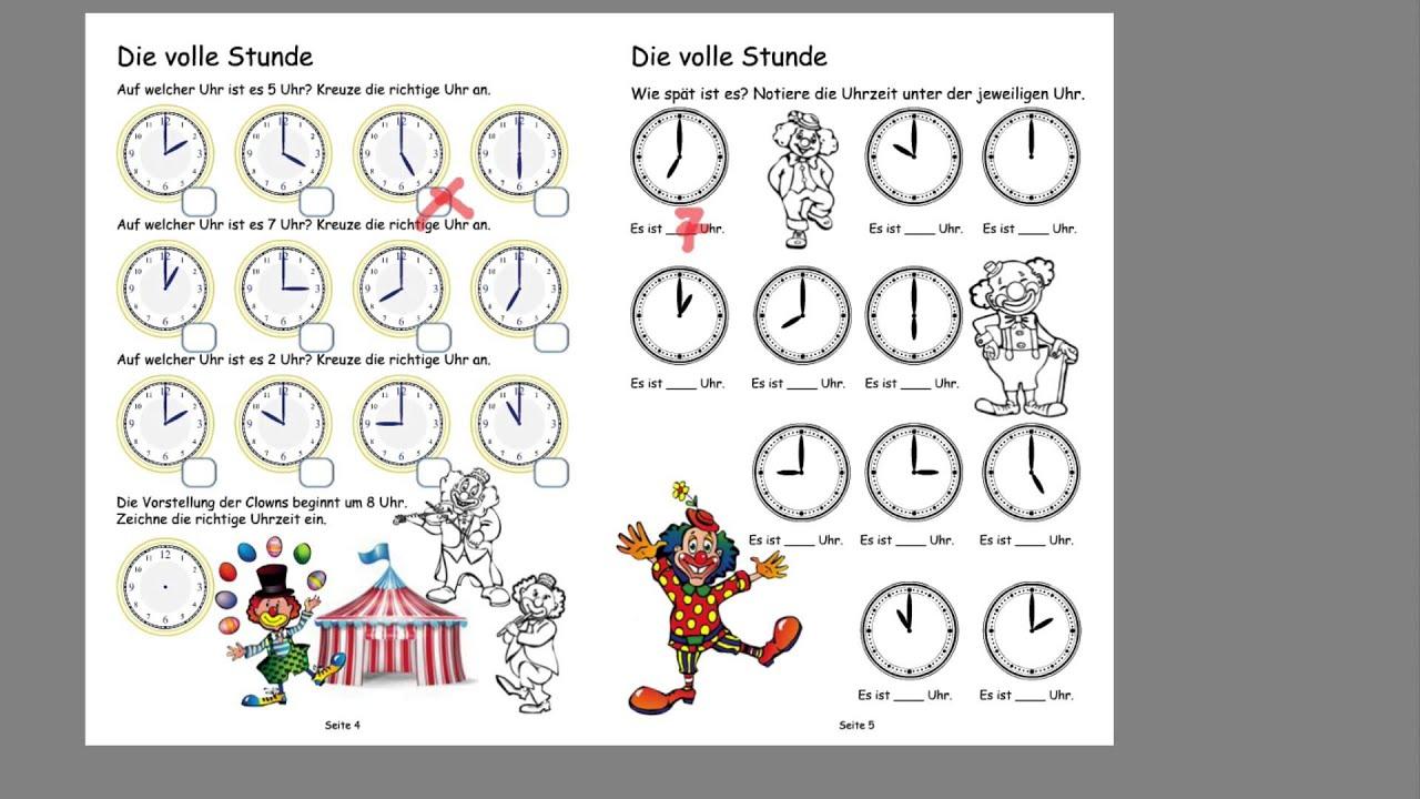 Uhrzeit Lernen Pdf  Arbeitsblätter Uhrzeit Klasse 2 in Uhrzeit Lernen Arbeitsblätter Kostenlos