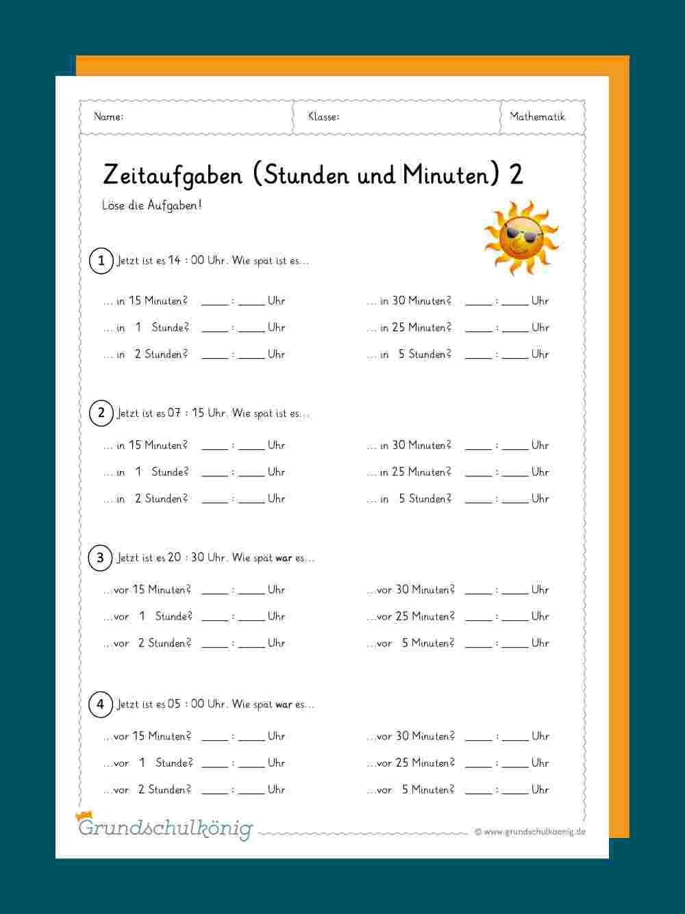 Uhrzeit Lernen / Zeitangaben mit Übungsblätter Kostenlos