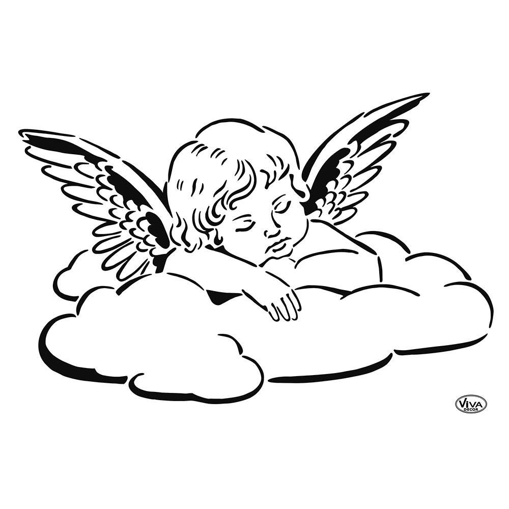Universal-Schablone A4 Engel Auf Wolke | Fantastisches in Schablone Für Engel
