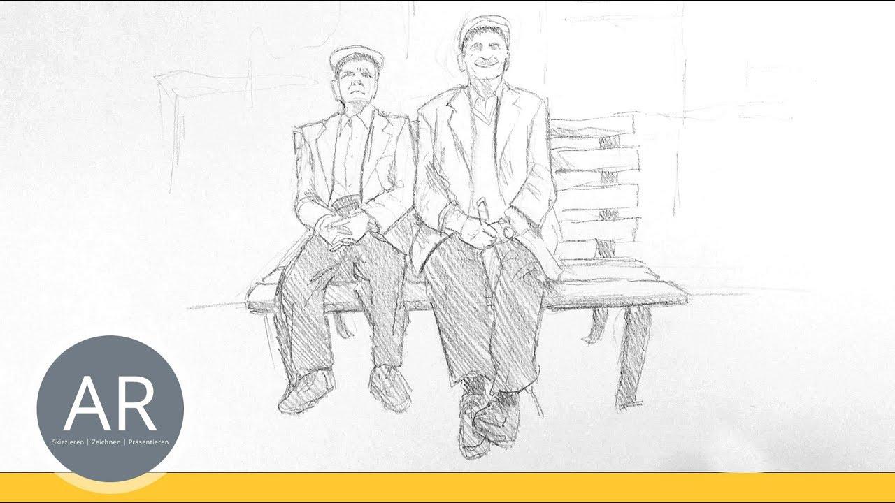 Urban Sketching. Menschen Im Sitzen Zeichnen Lernen. Kommunikationsdesign  Mappenkurs verwandt mit Wie Zeichne Ich Einen Menschen