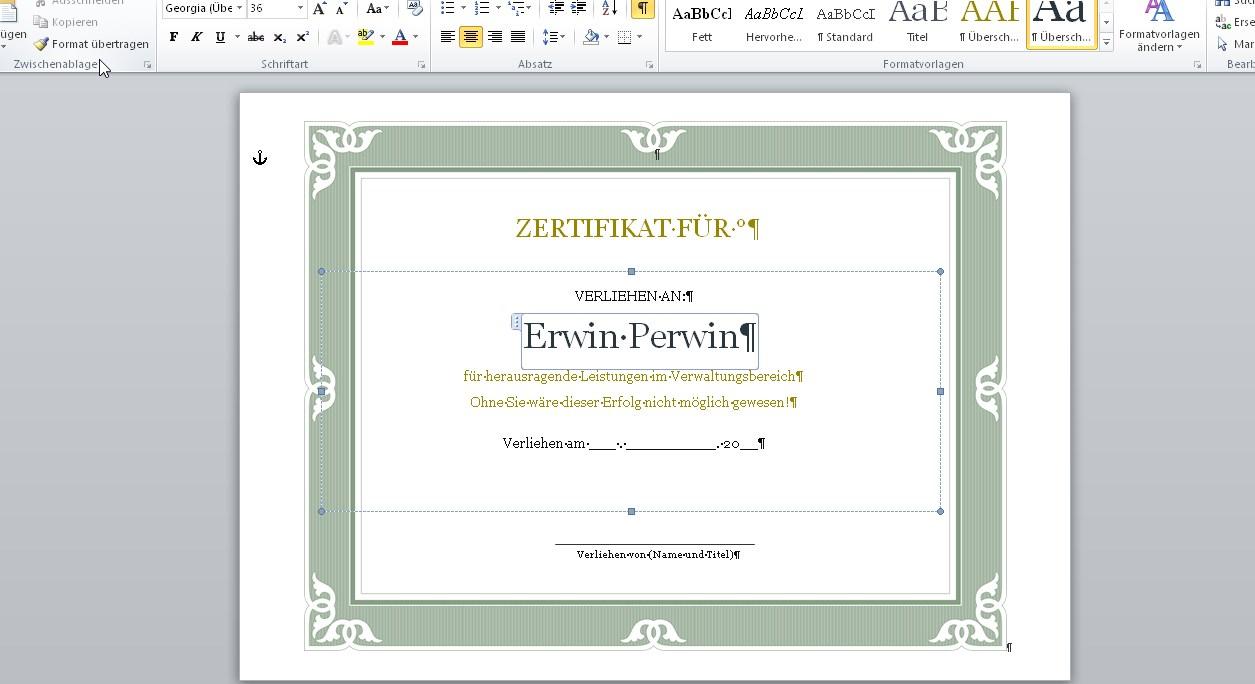 Urkunden-Vorlagen Für Word: Wo Ihr Sie Findet, Wie Ihr Sie Nutzt ganzes Urkunden Selber Erstellen Und Ausdrucken Kostenlos