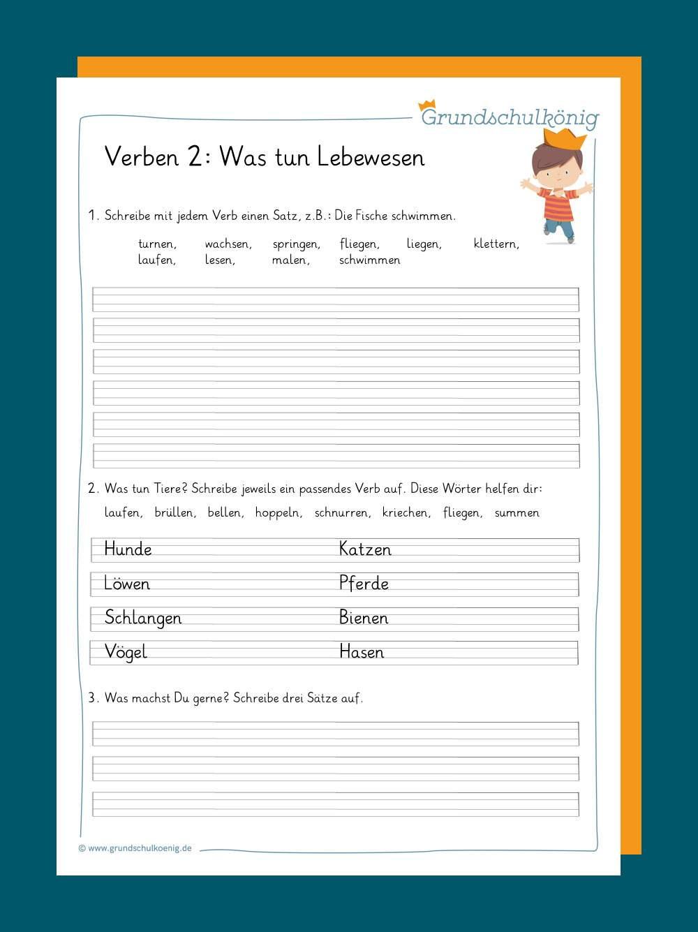 Verben Und Zeitformen für Deutsch Übungen Klasse 2 Zum Ausdrucken