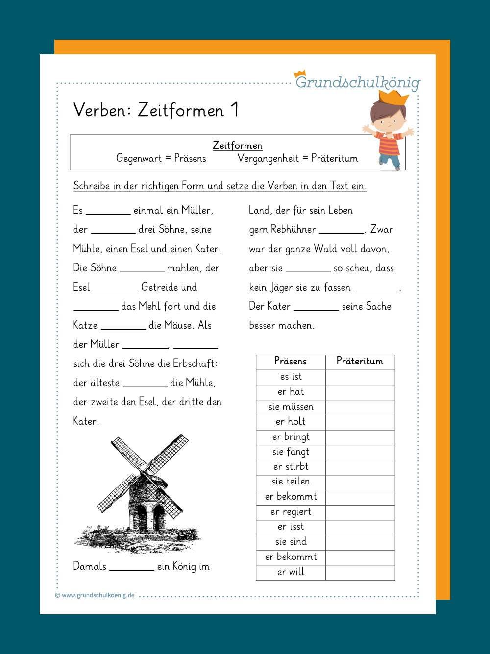 Verben Und Zeitformen für Dritte Klasse Deutsch Arbeitsblätter