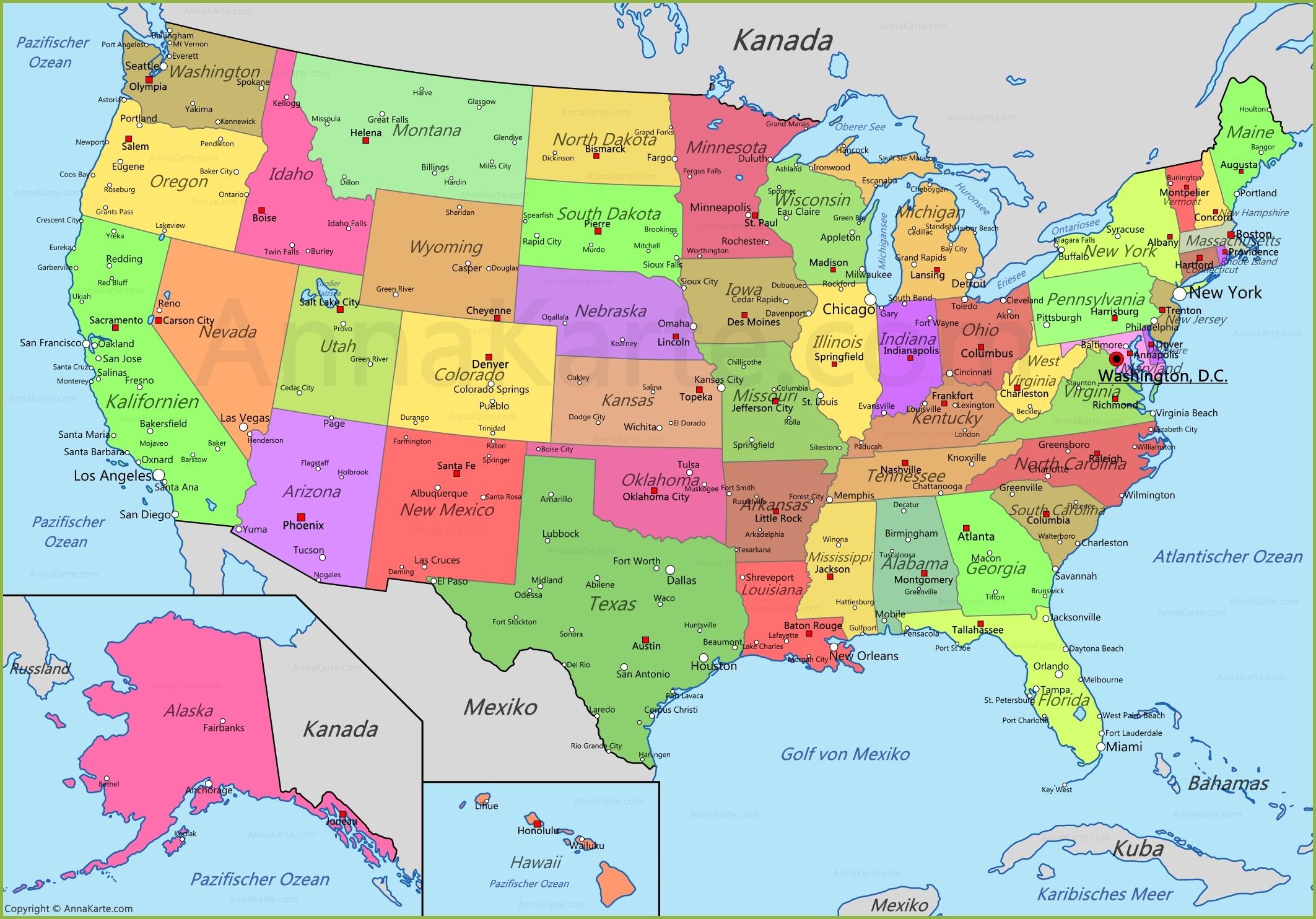 Vereinigte Staaten Karte   Usa Landkarte - Annakarte über Nordamerika Karte Mit Staaten Städte