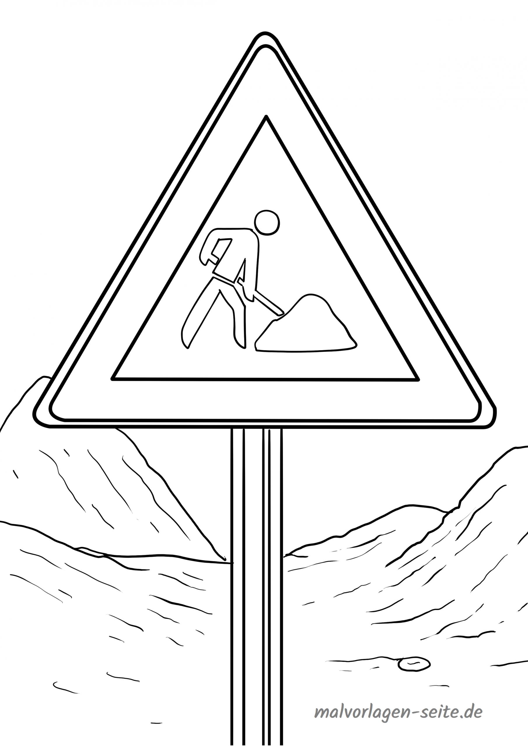 Verkehrszeichen Malvorlage Baustelle - Ausmalbilder bestimmt für Verkehrsschilder Zum Ausmalen