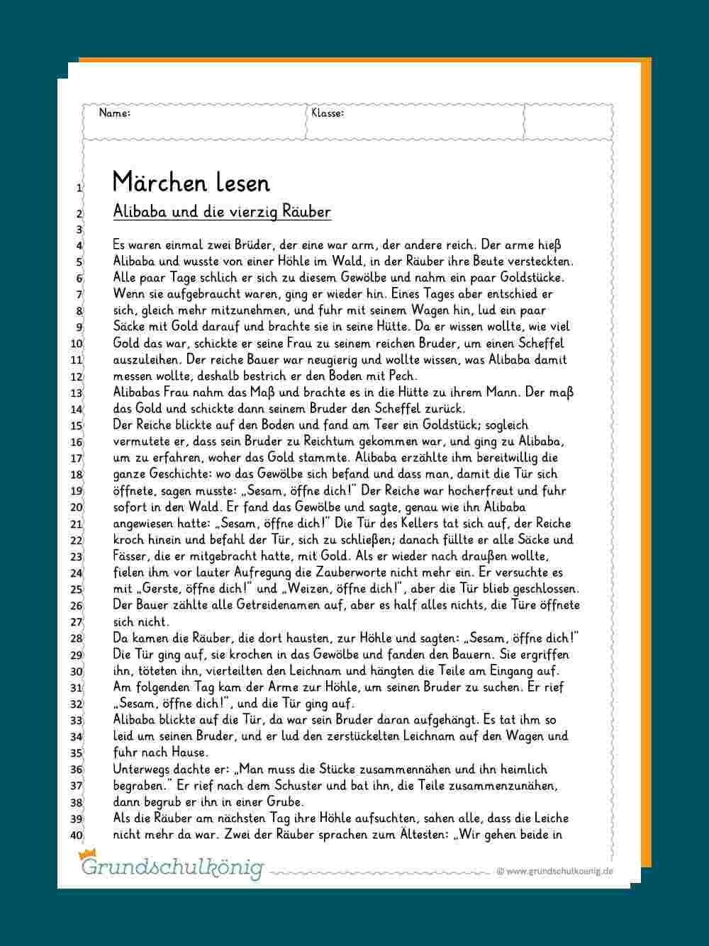 Verschiedene Märchen in Lesekompetenz 4 Klasse Arbeitsblätter Kostenlos
