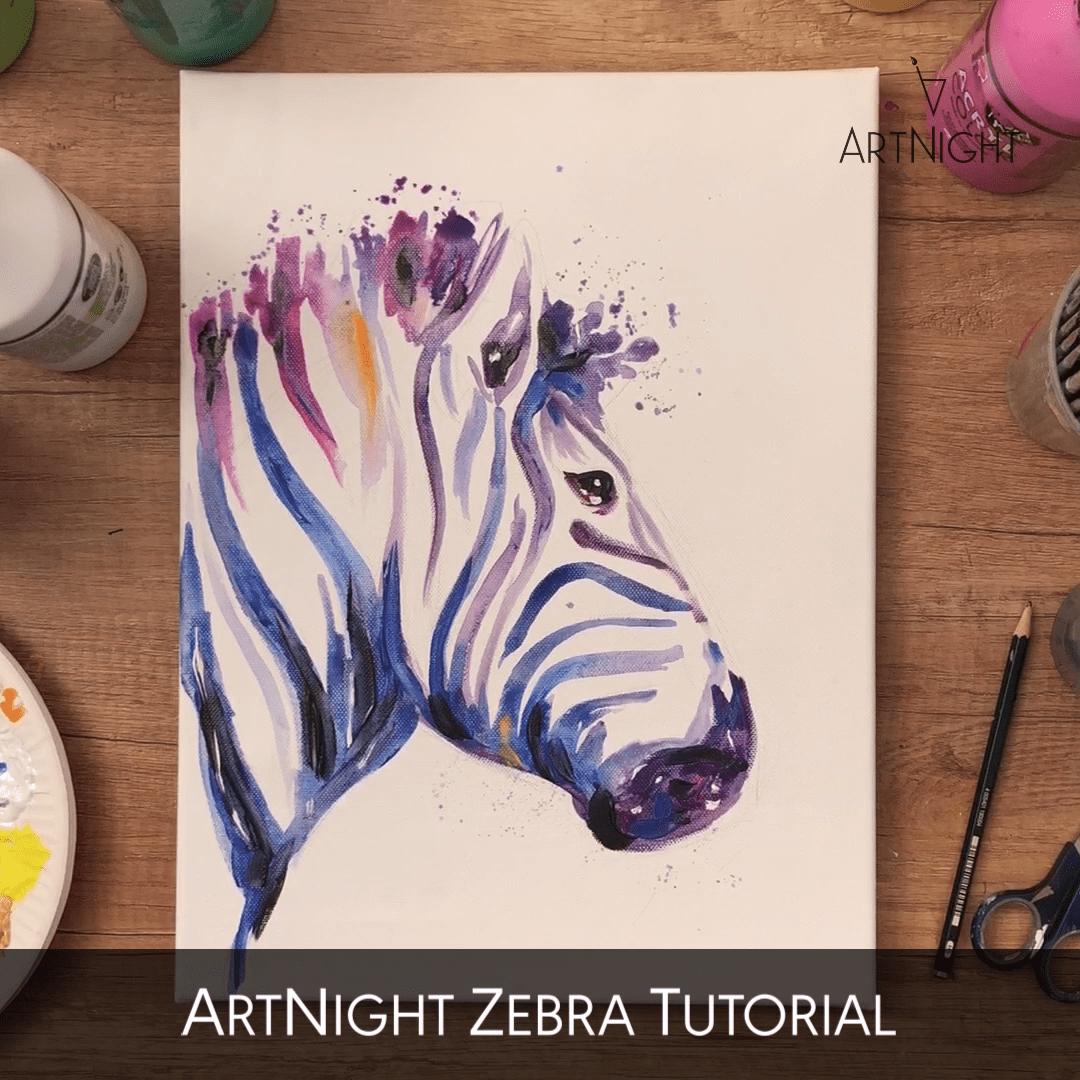 Video: Zebramalerei Mit Acryl In 2020   Acryl Malen, Bunte innen Malen Lernen Videos