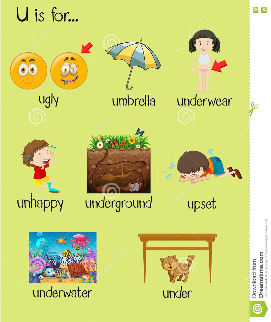Viele Wörter Fangen Mit Buchstaben U An Vektor Abbildung für Dinge Die Mit U Anfangen