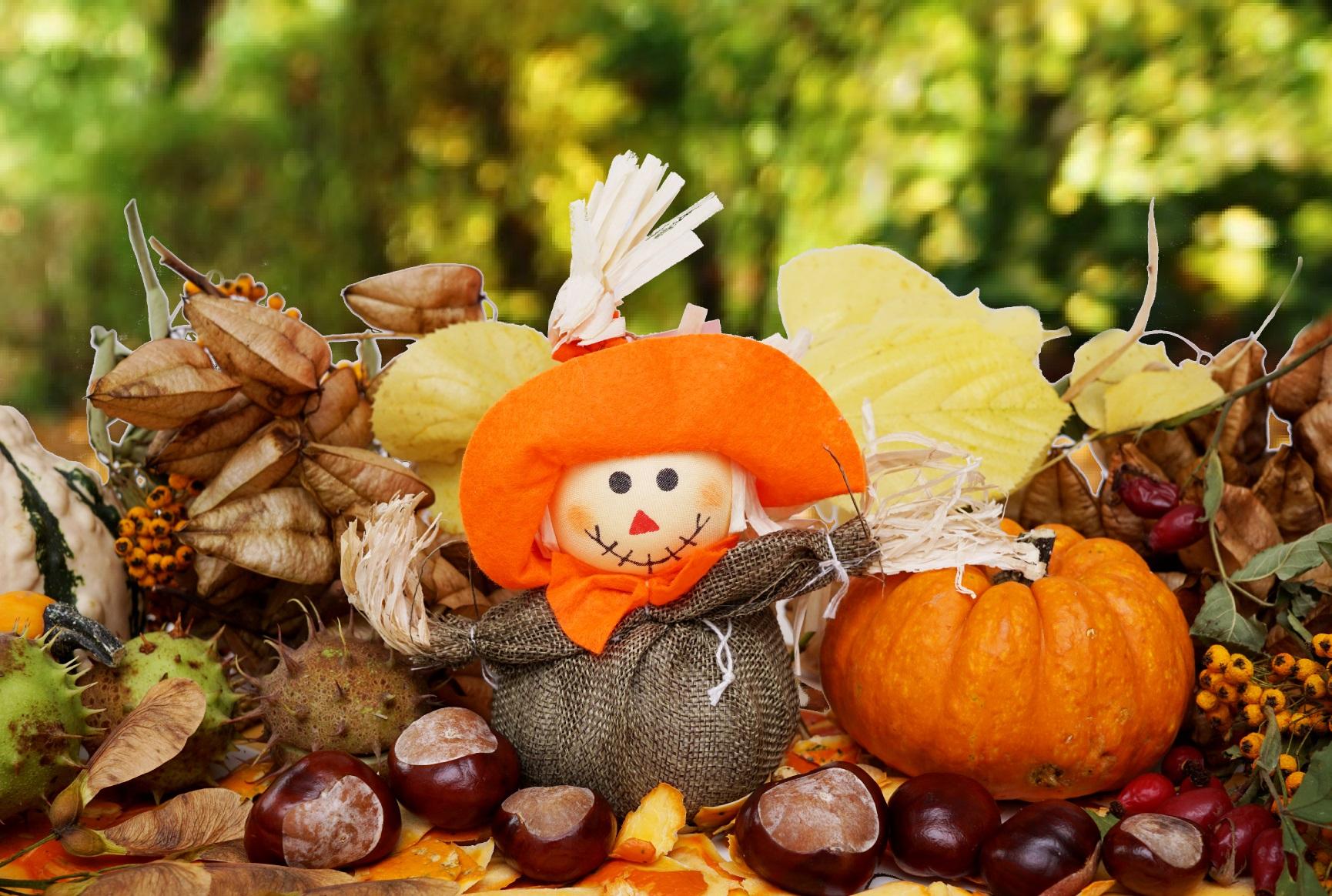 Vogelscheuche, Herbst, Kürbis, Kastanien - Lizenzfreie Fotos verwandt mit Kürbis Bilder Kostenlos