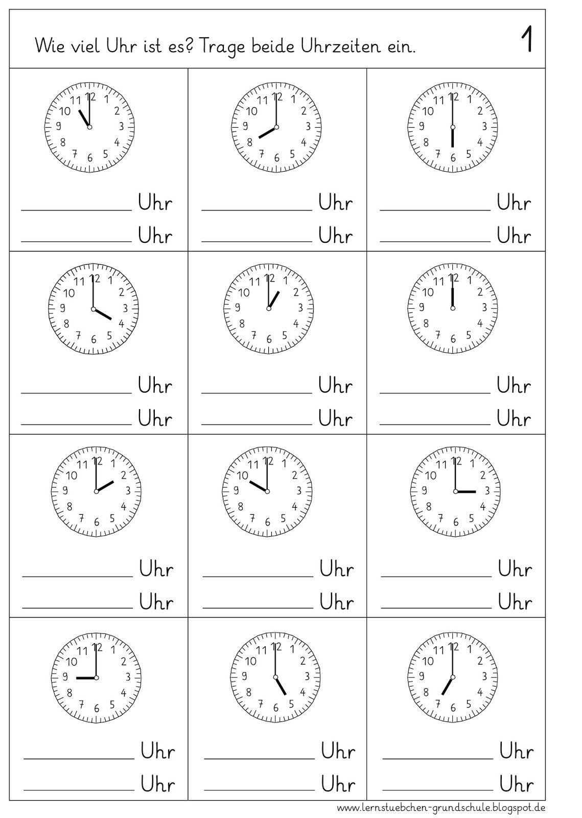 Volle Stunden Ablesen (Mit Bildern) | Uhrzeit Lernen bestimmt für Uhr Lernen Übungen