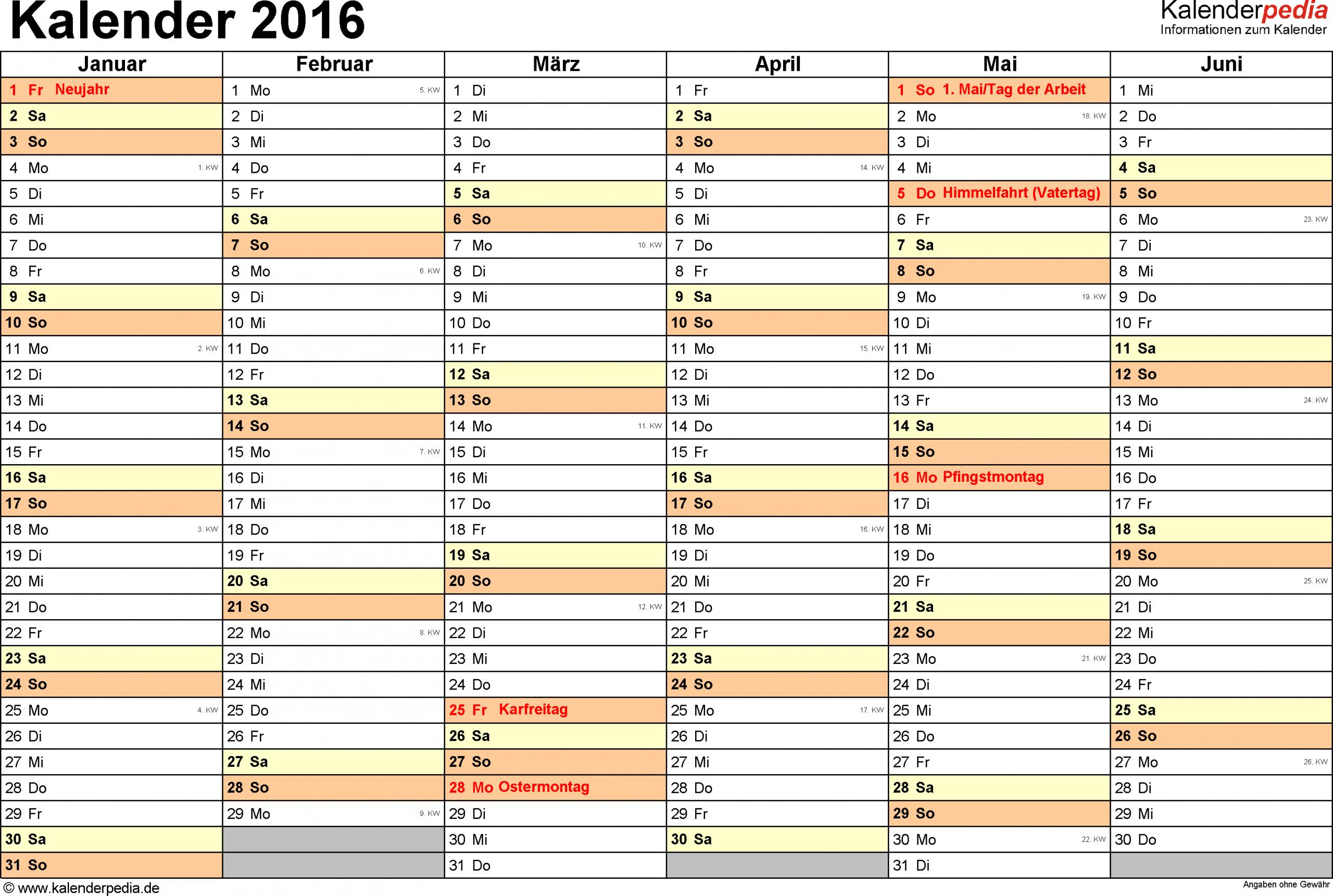 Vorlage 4: Kalender 2016 Für Word, Querformat, 2 Seiten, 1 in Jahreskalender 2016 Zum Ausdrucken