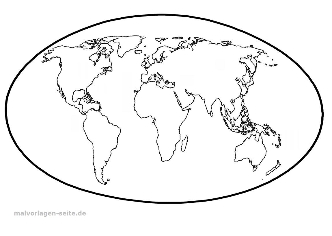 Vorlage Weltkarte - Ausmalbilder Kostenlos Herunterladen bestimmt für Weltkarte Ausmalen
