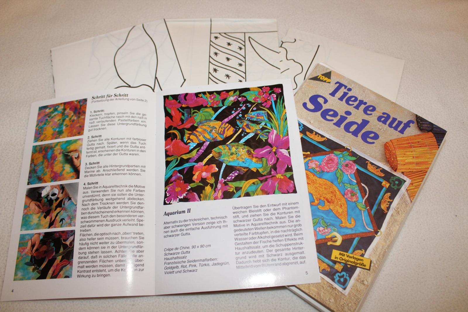 Vorlagen 6 Stück Seidenmalerei Tiere Auf Seide Anleitung über Seidenmalerei Motive