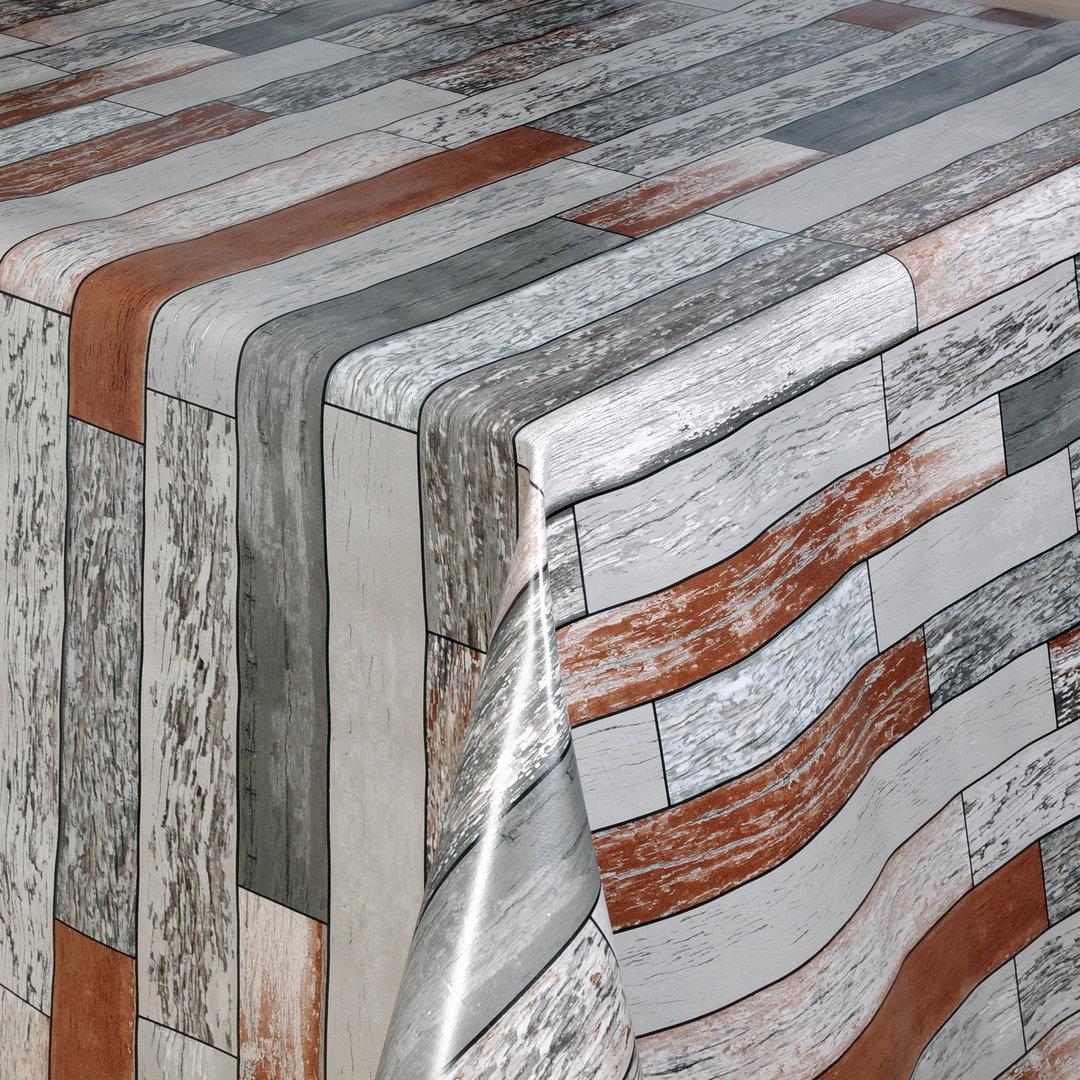 Wachstuch Tischdecke Meterware Holzoptik Grau Braun 06026-02 Eckig Rund Oval mit Tischdecke Holzoptik