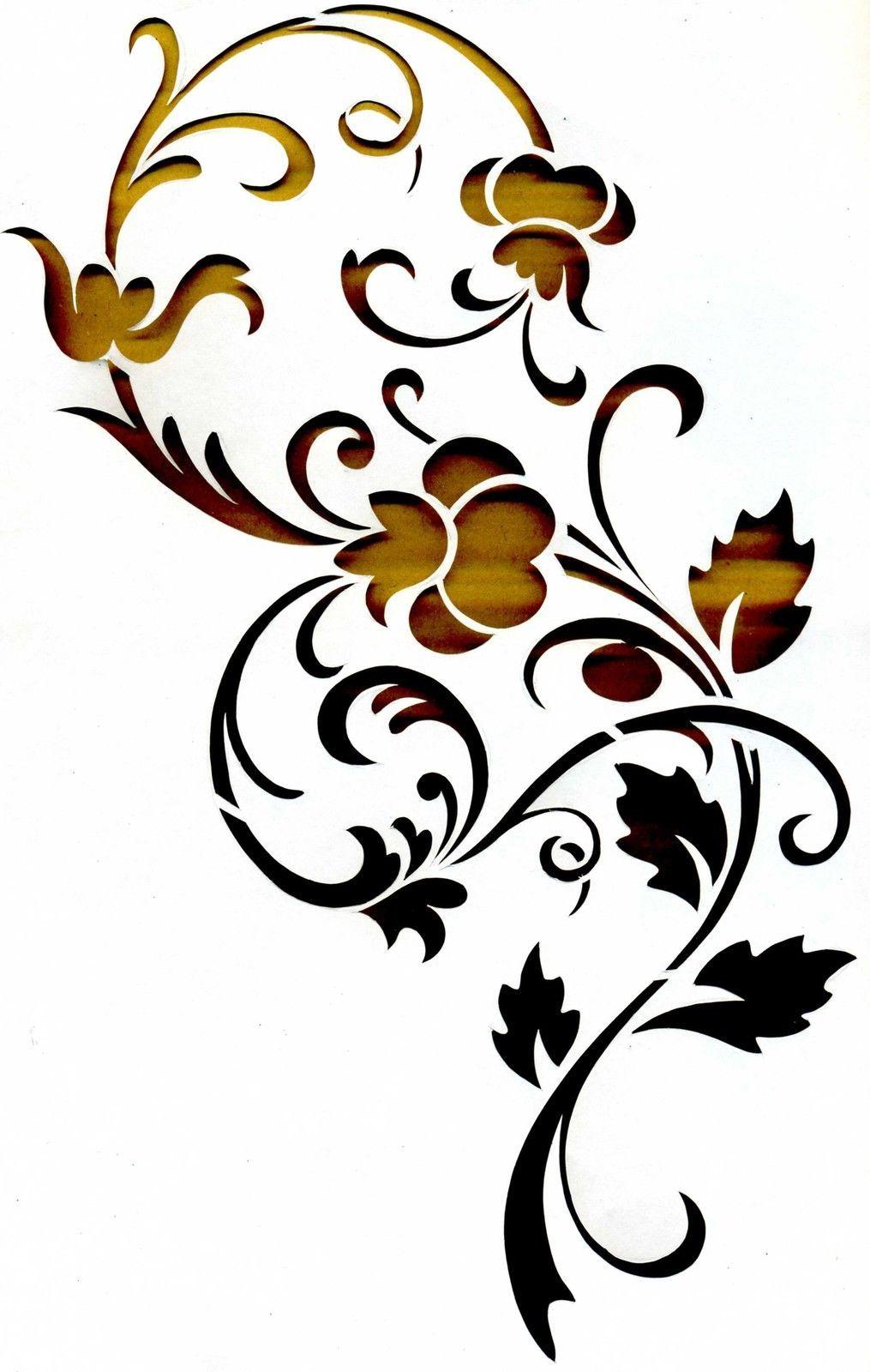 Wandschablonen Schablone Wandtattoo Ornament | Ebay innen Wandschablonen Zum Ausdrucken Kostenlos