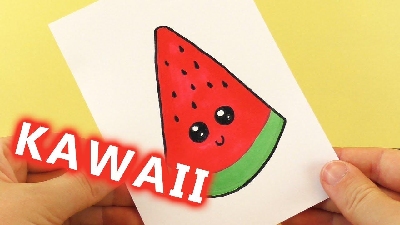 Wassermelone Diy Kawaii Zeichnen | Süße Watermelon Selber Machen - Malen  Für Kinder innen Süße Bilder Zum Zeichnen