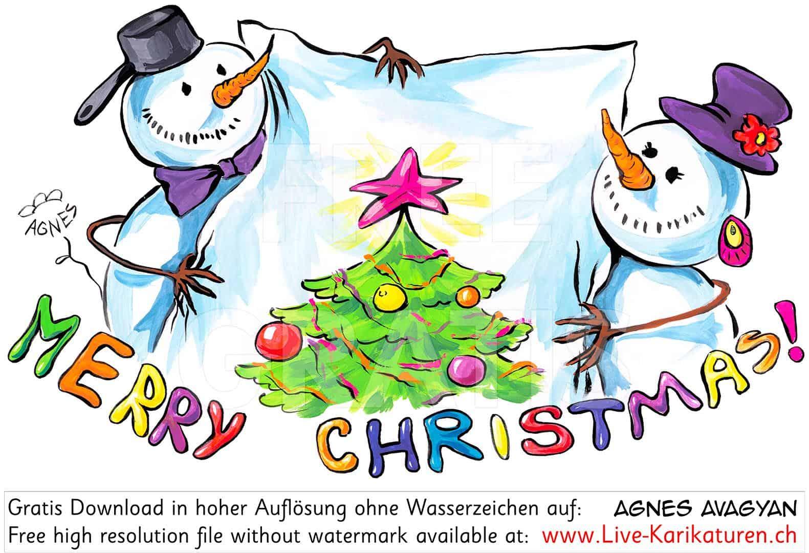 Weihnachten Merry Christmas Schneemaenner Tuch Leer — Agnes über Frohe Weihnachten Clipart Kostenlos