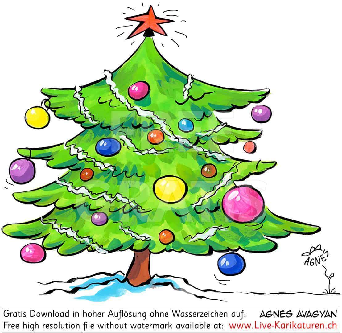 Weihnachten Tannenbaum Christbaumkugeln Stern Lametta Schnee ganzes Tannenbaum Fotos Kostenlos
