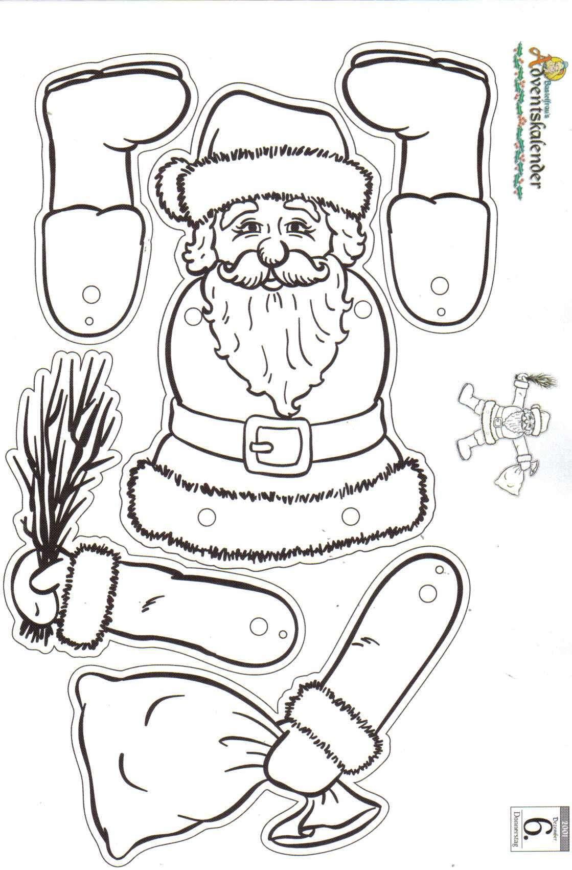 Weihnachtliche Bastelvorlagen   Bastelfrau ® mit Weihnachtsmann Bastelvorlage