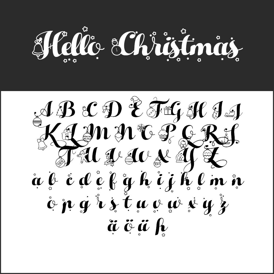 Weihnachtliche Schriftarten Für Ihre Weihnachtsgrüße mit Schreibschrift Buchstaben Zum Kopieren