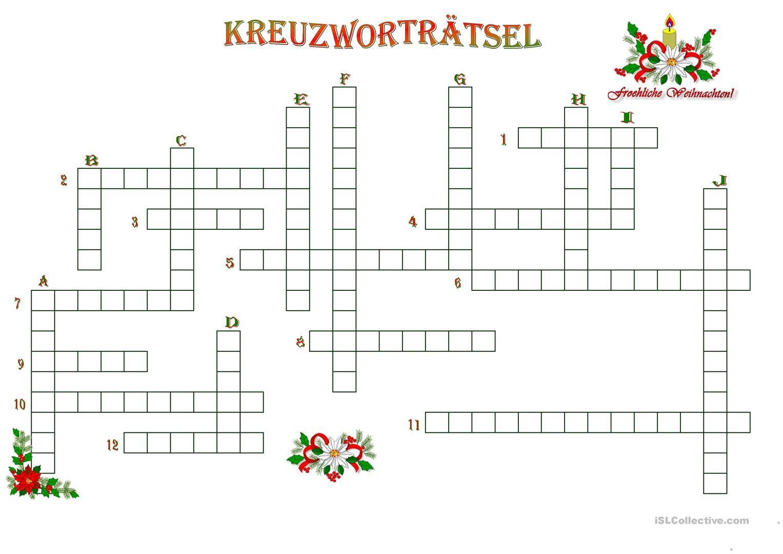 Weihnachtliches Kreuzworträtsel (Mit Bildern ganzes Kostenlose Kreuzworträtsel