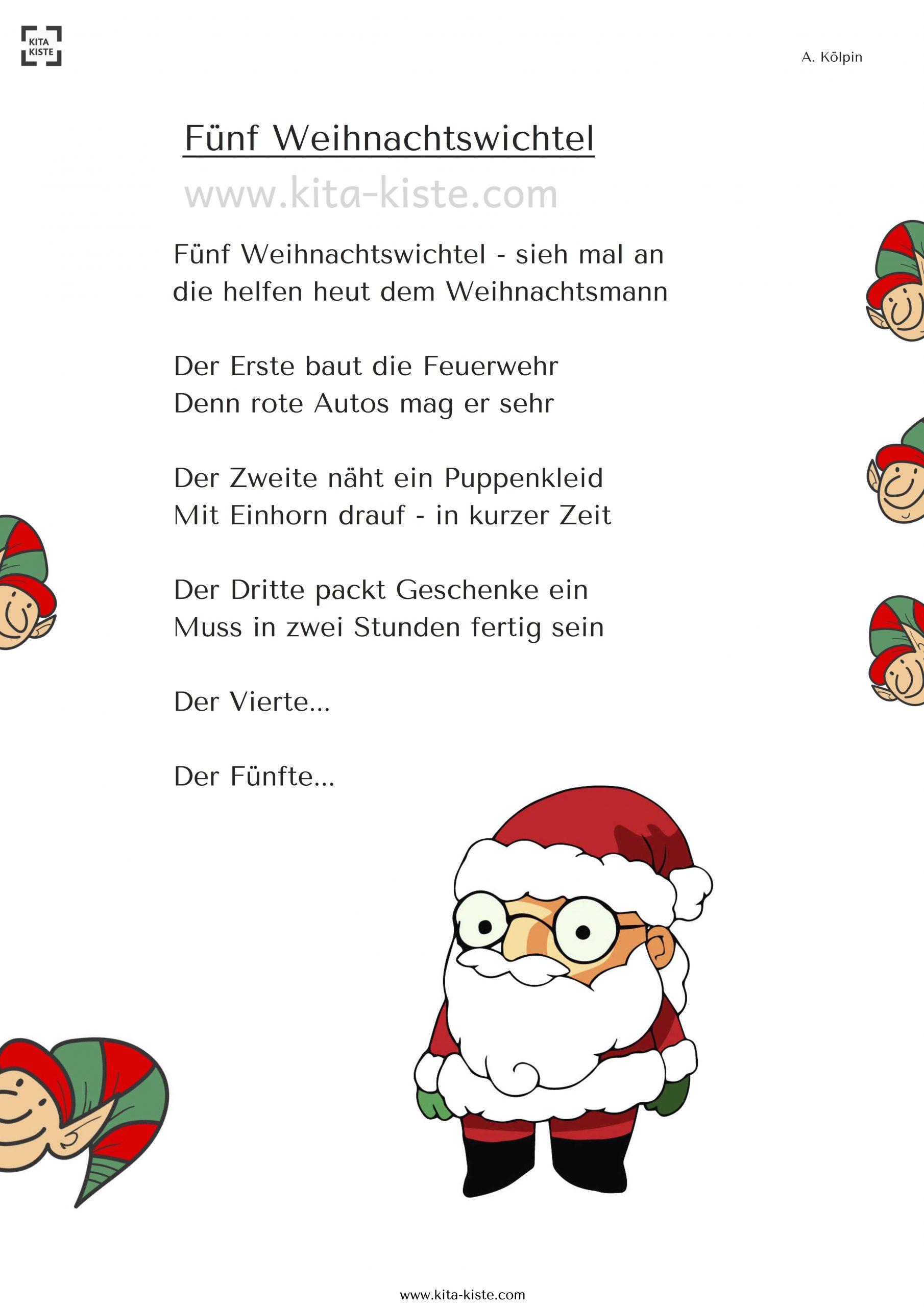 Weihnachts-Gedicht - Wie Helfen Die Wichtel Dem bei Einfache Weihnachtsgedichte Für Kindergartenkinder