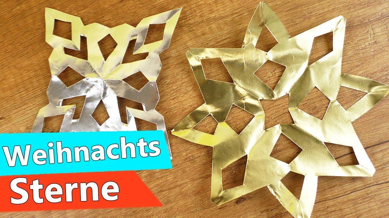 Weihnachts Sterne Basteln Mit Kindern   Super Einfache & Schnelle Anleitung  In Silber & Gold innen Weihnachts Sterne Basteln