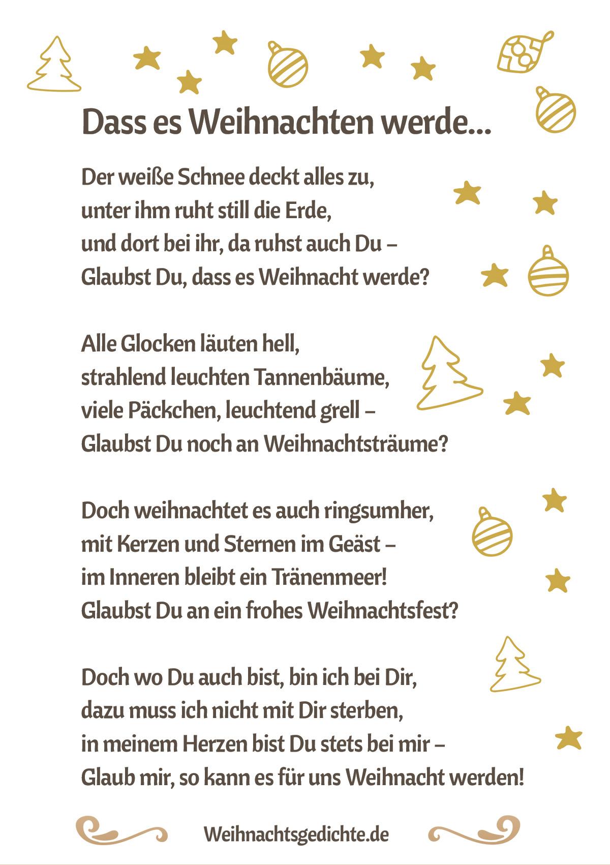Weihnachtsgedichte Bilder Zum Versenden Als E-Mail Oder Facebook für Kleine Weihnachtsgedichte Für Kinder