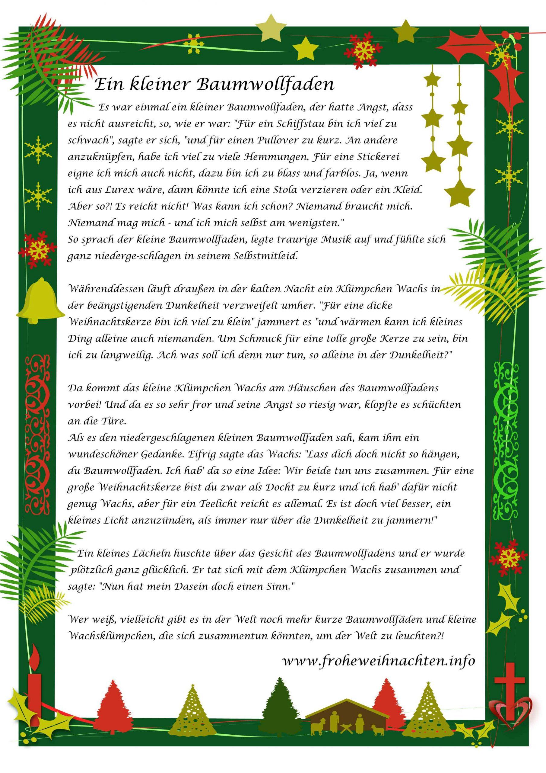 Weihnachtsgeschichten Zum Vorlesen - Für Kinder, Erwachsene innen Kurze Weihnachtsgeschichten Für Kleinkinder Zum Ausdrucken