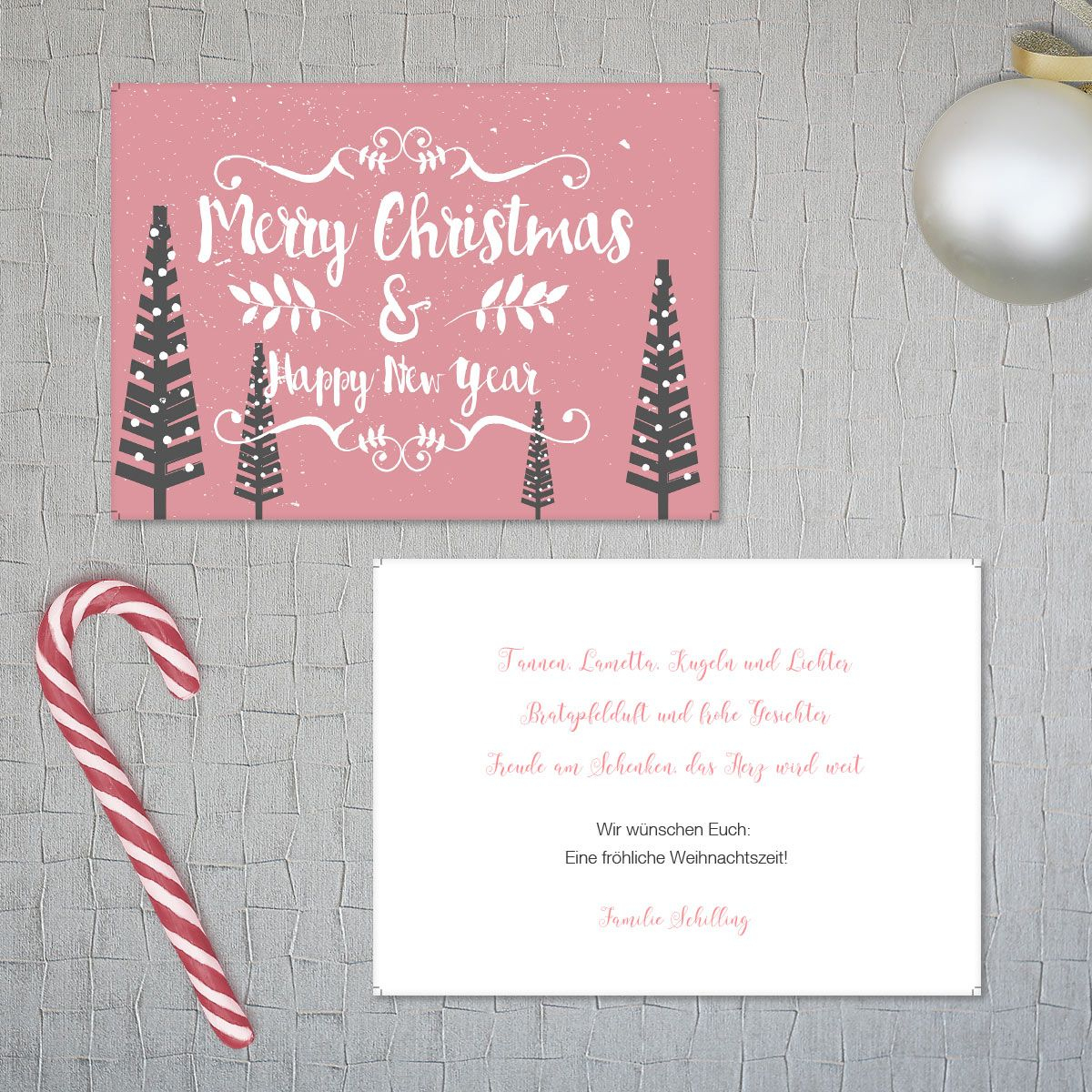 """Weihnachtsgrüße Als Postkarte Mit Unserer Serie """"pink Xmas bei Weihnachtsgrüße Zum Ausdrucken"""