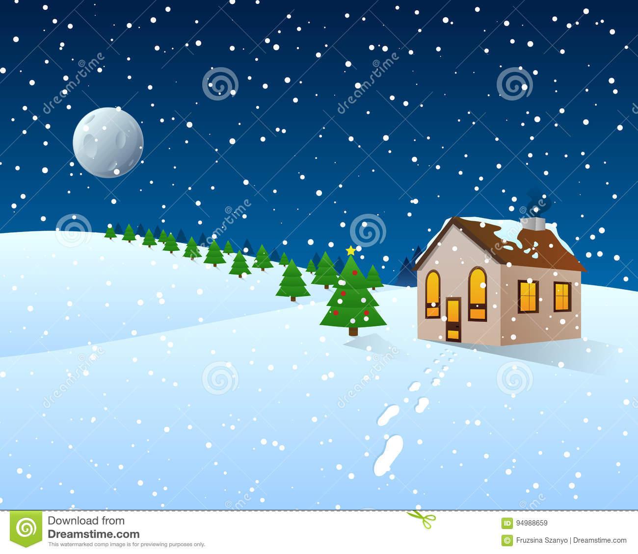 Weihnachtskarikatur Clipart - Winter-Landschaft Stock in Cliparts Winter Kostenlos