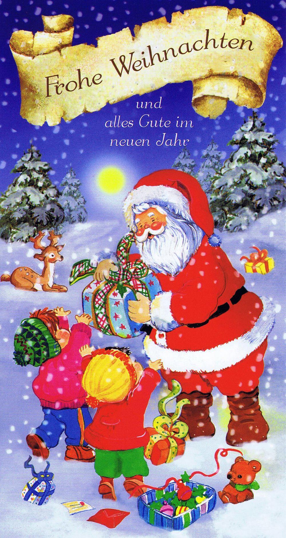 Weihnachtskarte 3 - Weihnachtsmann Und Glückliche Kinder ganzes Weihnachtskarte Für Kinder