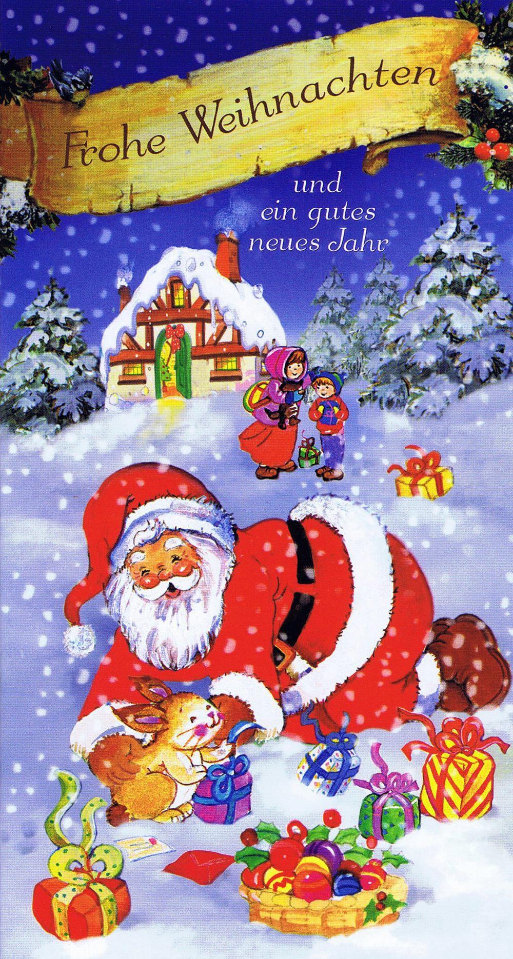 Weihnachtskarte 5 - Weihnachtsmann Und Glückliche Kinder mit Weihnachtskarte Für Kinder